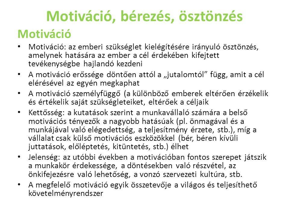 Motiváció, bérezés, ösztönzés