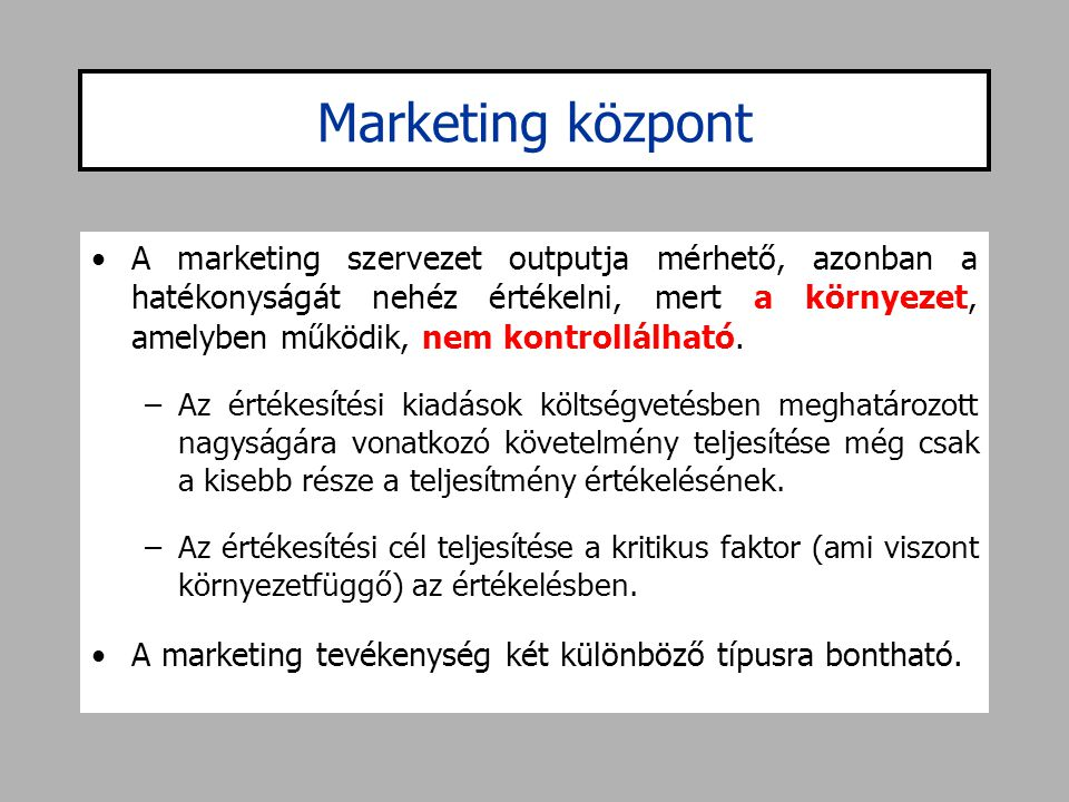Marketing központ