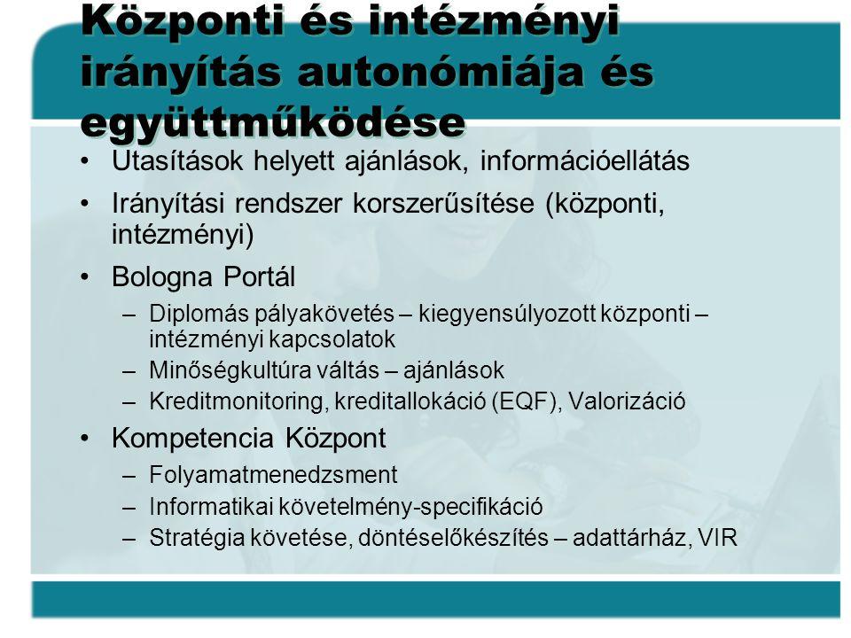 Központi és intézményi irányítás autonómiája és együttműködése