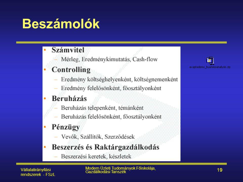 Beszámolók Vállalatirányítási rendszerek - FSzL