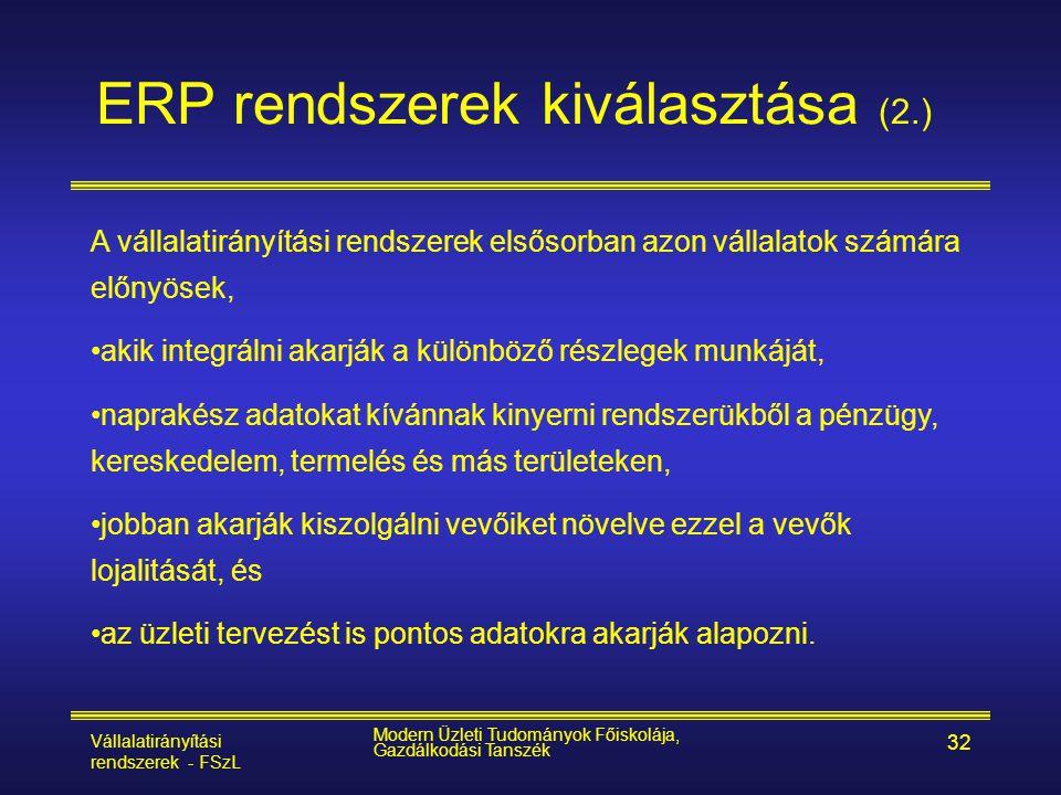 ERP rendszerek kiválasztása (2.)