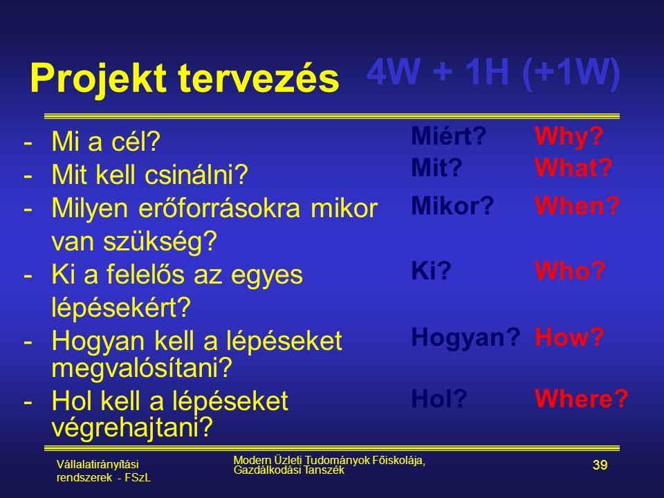 Projekt tervezés 4W + 1H (+1W) Mi a cél Mit kell csinálni