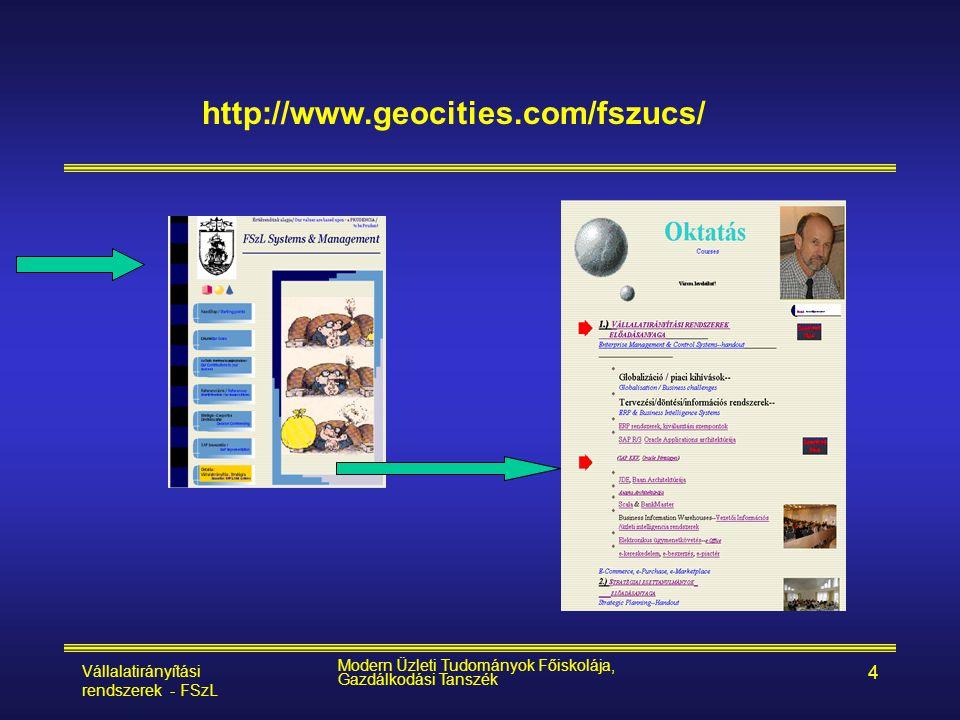 http://www.geocities.com/fszucs/ Vállalatirányítási rendszerek - FSzL