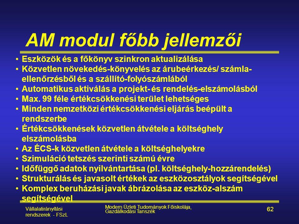 AM modul főbb jellemzői
