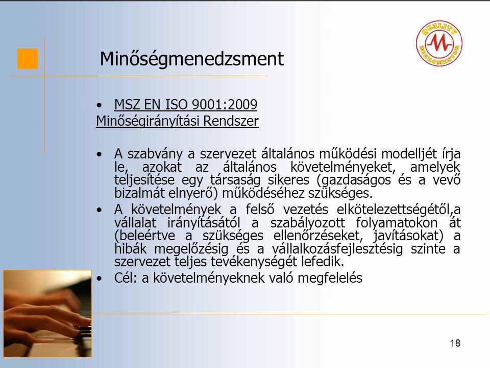 Minőségmenedzsment MSZ EN ISO 9001:2009 Minőségirányítási Rendszer