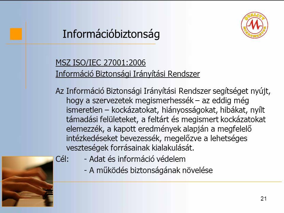 Információbiztonság MSZ ISO/IEC 27001:2006