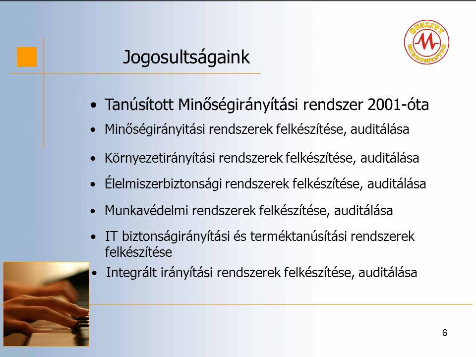 Jogosultságaink Tanúsított Minőségirányítási rendszer 2001-óta