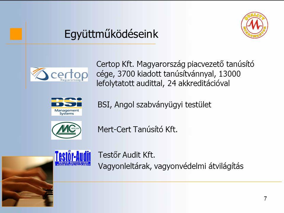 Együttműködéseink Certop Kft. Magyarország piacvezető tanúsító cége, 3700 kiadott tanúsítvánnyal, 13000 lefolytatott audittal, 24 akkreditációval.