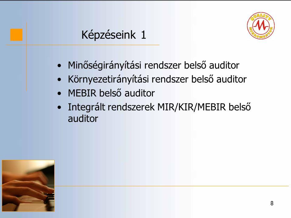 Képzéseink 1 Minőségirányítási rendszer belső auditor