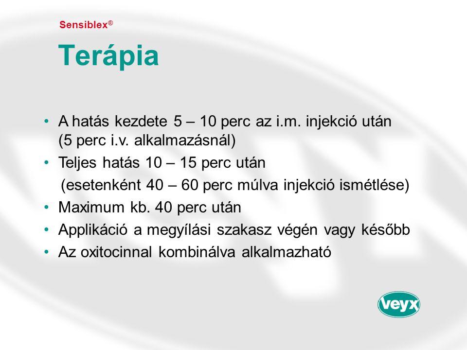 Sensiblex® Terápia. A hatás kezdete 5 – 10 perc az i.m. injekció után (5 perc i.v. alkalmazásnál)