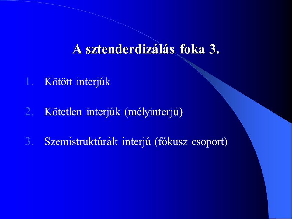 A sztenderdizálás foka 3.