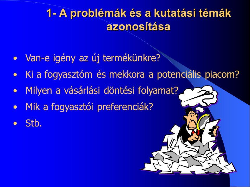 1- A problémák és a kutatási témák azonosítása