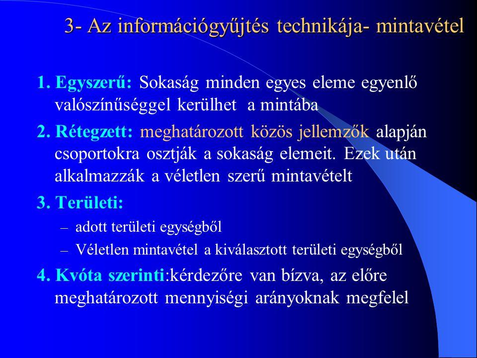 3- Az információgyűjtés technikája- mintavétel