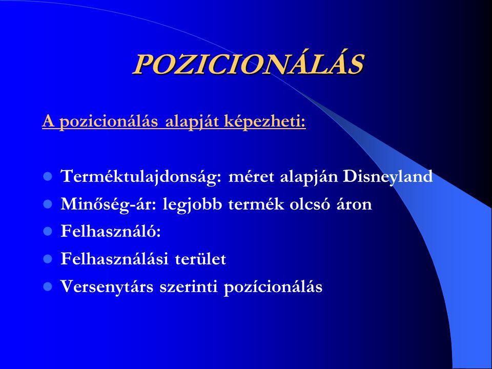 POZICIONÁLÁS A pozicionálás alapját képezheti: