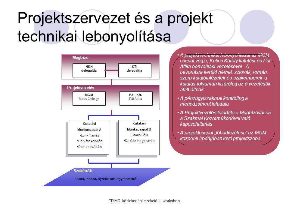 Projektszervezet és a projekt technikai lebonyolítása