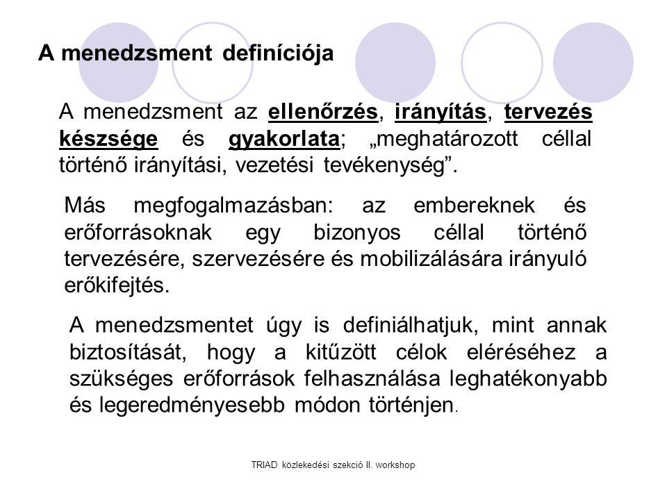 A menedzsment definíciója