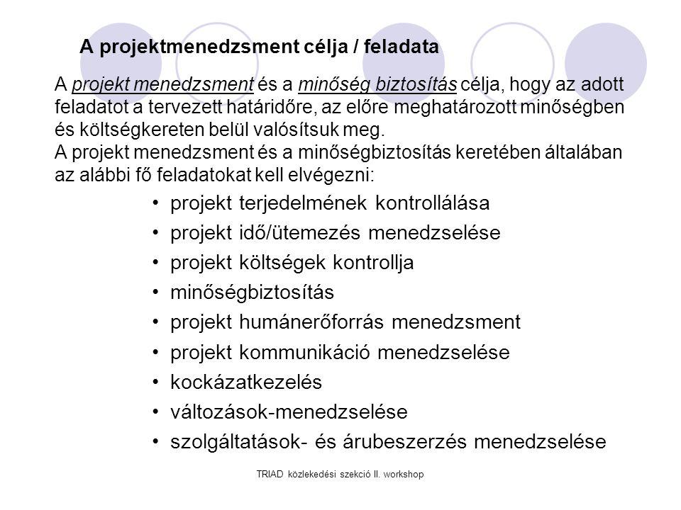 A projektmenedzsment célja / feladata