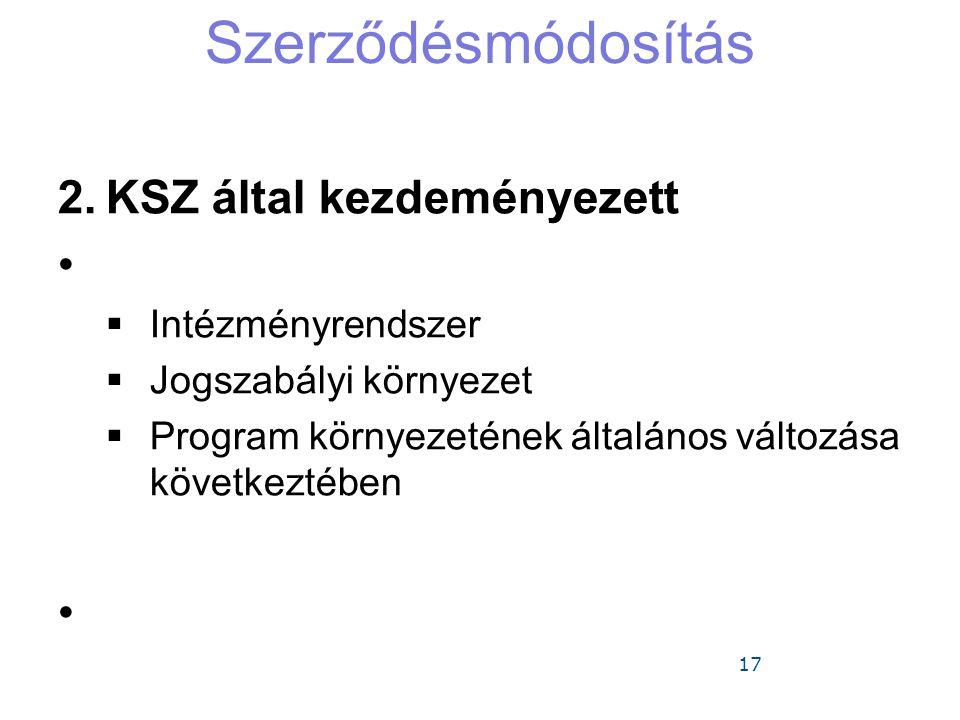 Szerződésmódosítás KSZ által kezdeményezett Intézményrendszer