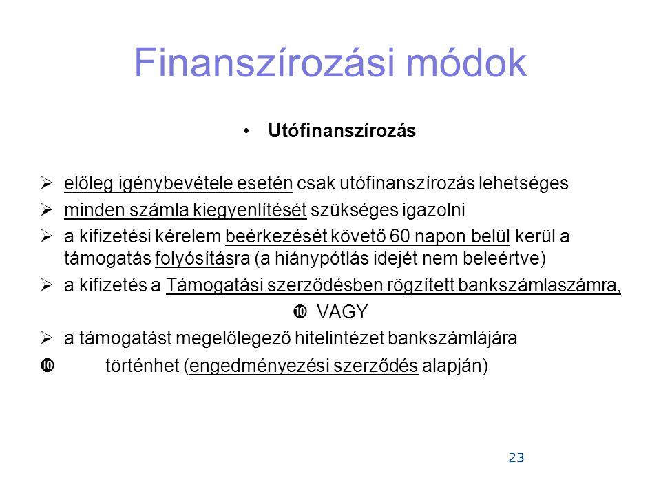 Finanszírozási módok Utófinanszírozás