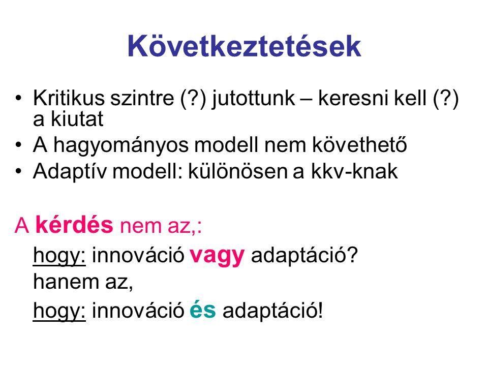Következtetések Kritikus szintre ( ) jutottunk – keresni kell ( ) a kiutat. A hagyományos modell nem követhető.