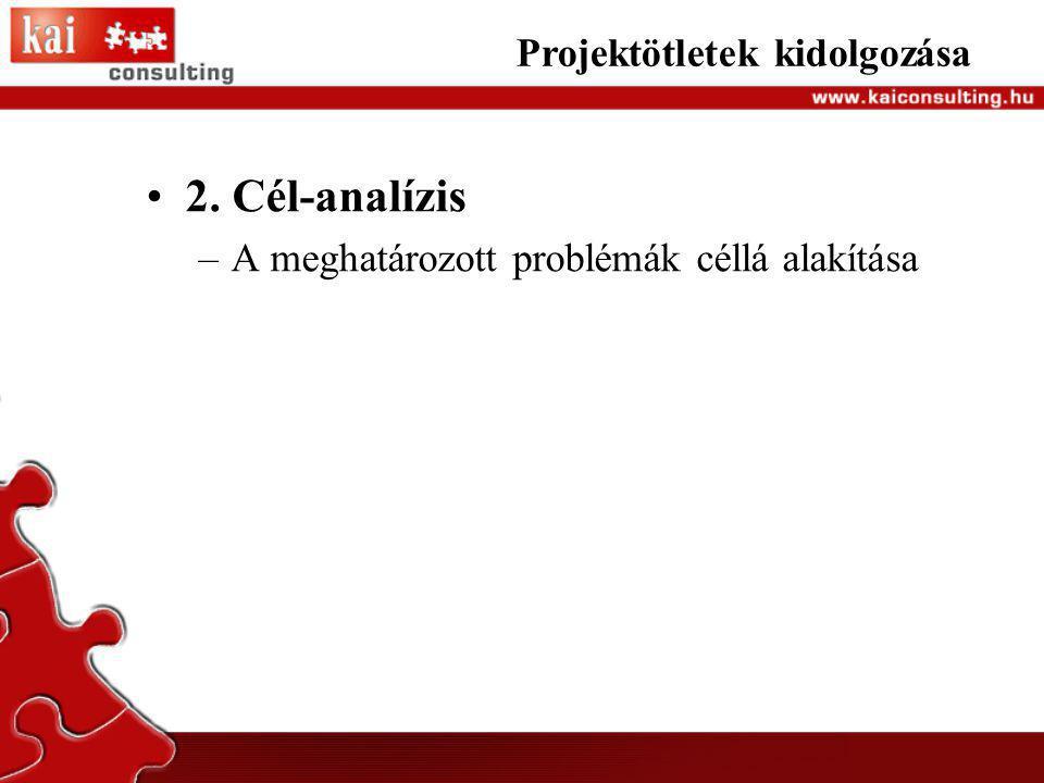 2. Cél-analízis Projektötletek kidolgozása