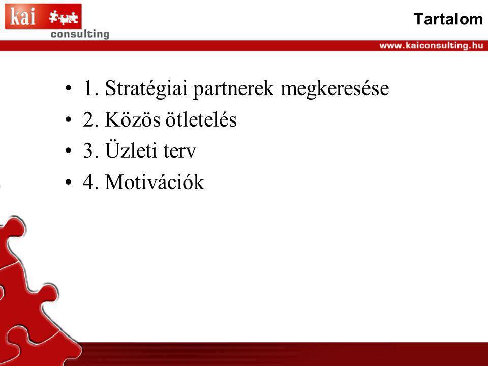 1. Stratégiai partnerek megkeresése 2. Közös ötletelés 3. Üzleti terv
