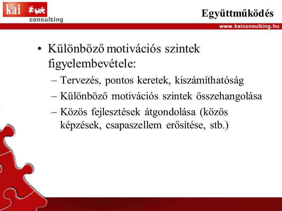 Különböző motivációs szintek figyelembevétele: