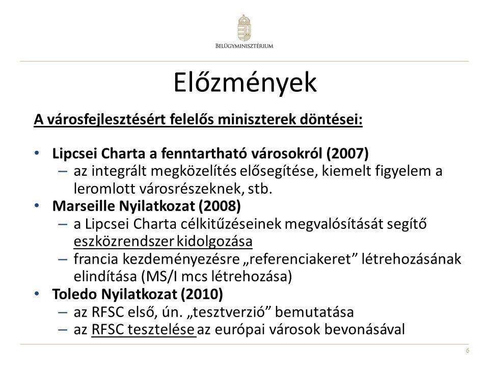 Előzmények A városfejlesztésért felelős miniszterek döntései:
