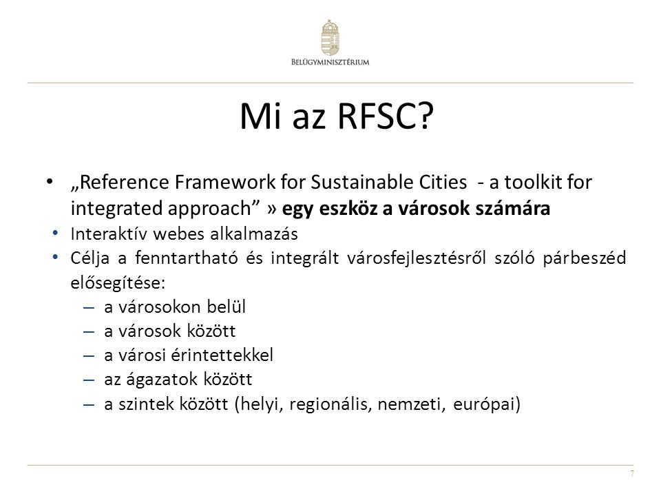 "Mi az RFSC ""Reference Framework for Sustainable Cities - a toolkit for integrated approach » egy eszköz a városok számára."