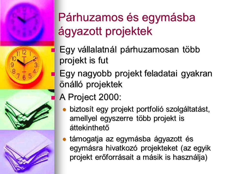 Párhuzamos és egymásba ágyazott projektek