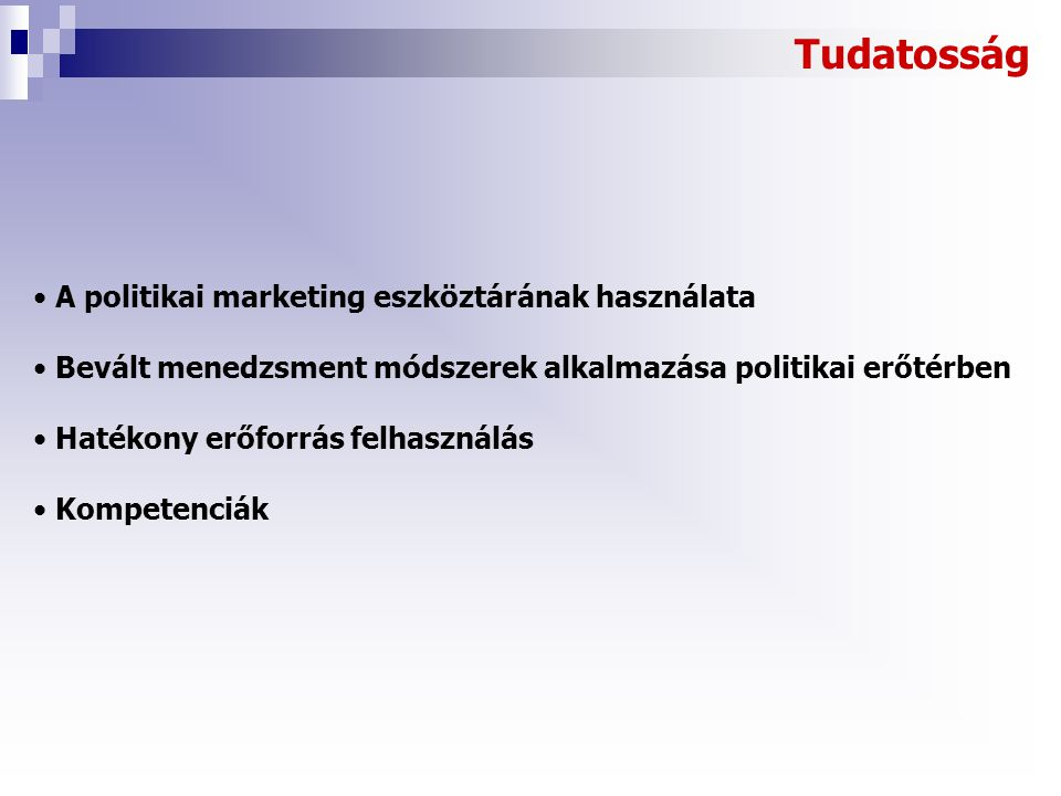Tudatosság A politikai marketing eszköztárának használata