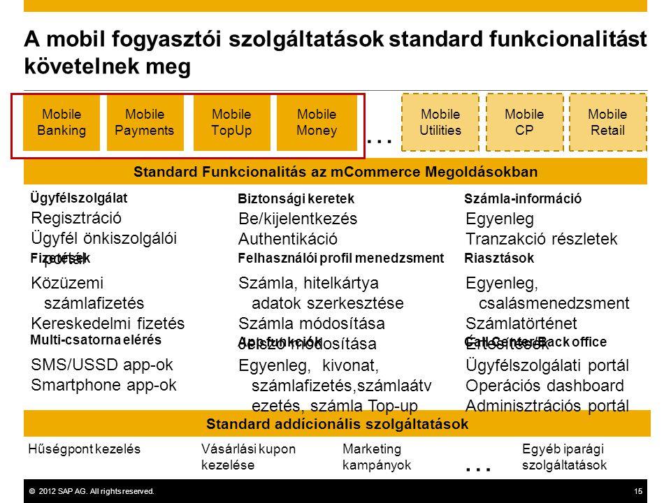 A mobil fogyasztói szolgáltatások standard funkcionalitást követelnek meg
