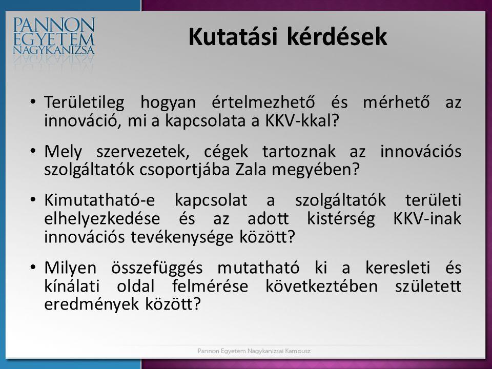 Kutatási kérdések Területileg hogyan értelmezhető és mérhető az innováció, mi a kapcsolata a KKV-kkal