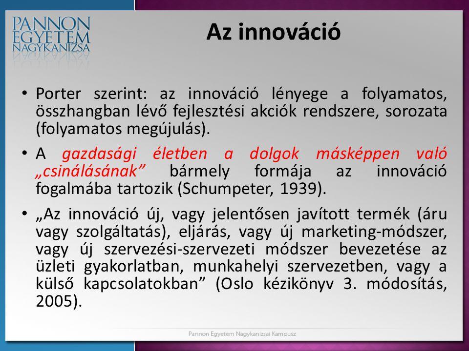Az innováció Porter szerint: az innováció lényege a folyamatos, összhangban lévő fejlesztési akciók rendszere, sorozata (folyamatos megújulás).