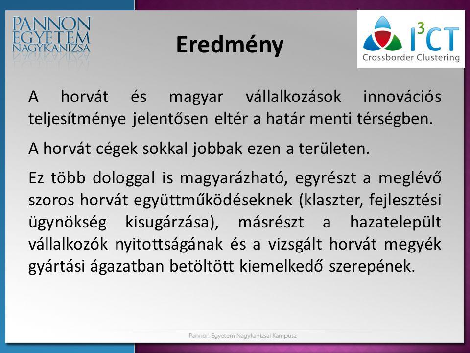 Eredmény A horvát és magyar vállalkozások innovációs teljesítménye jelentősen eltér a határ menti térségben.