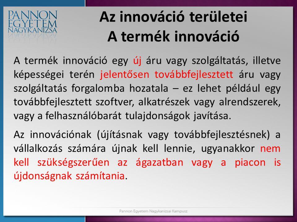 Az innováció területei A termék innováció