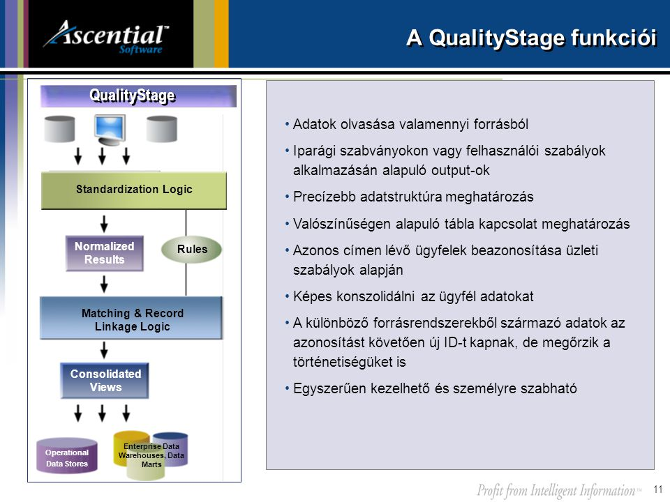 A QualityStage funkciói
