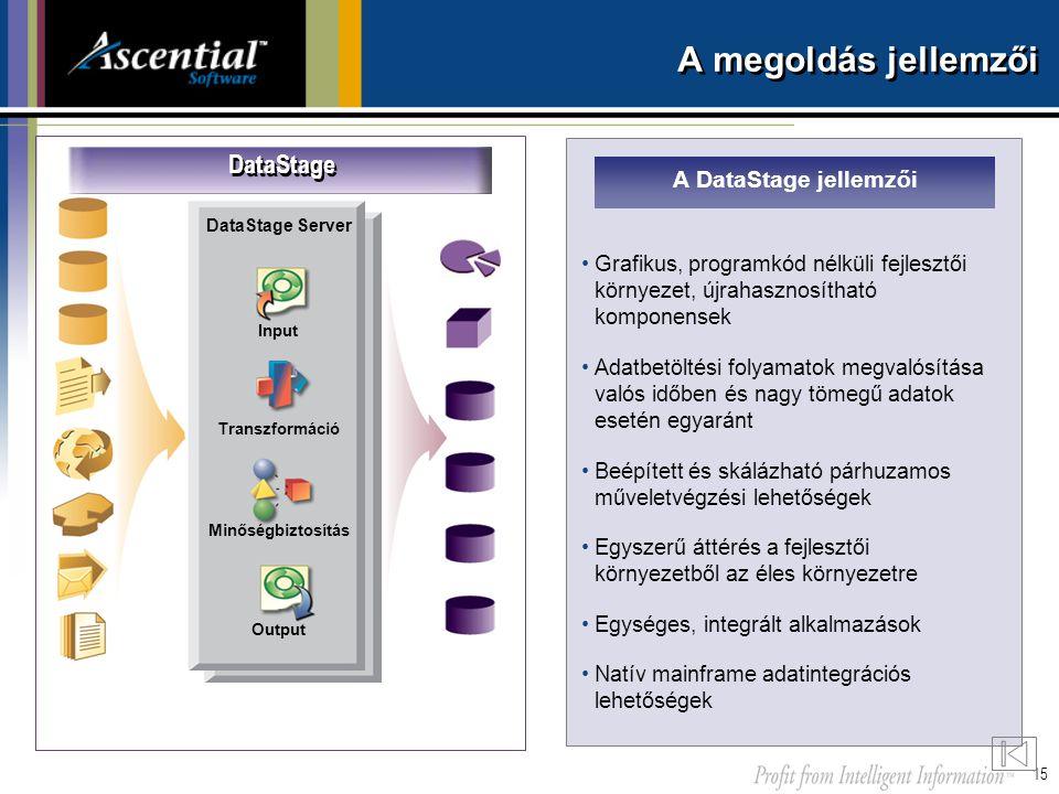 A megoldás jellemzői DataStage A DataStage jellemzői