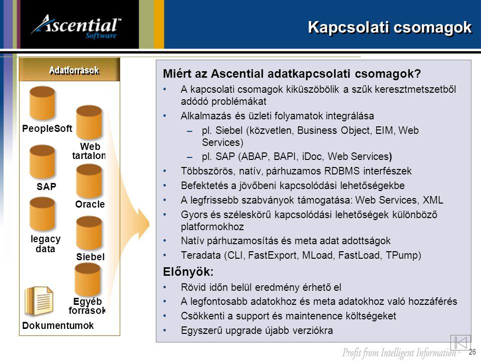 Kapcsolati csomagok Miért az Ascential adatkapcsolati csomagok