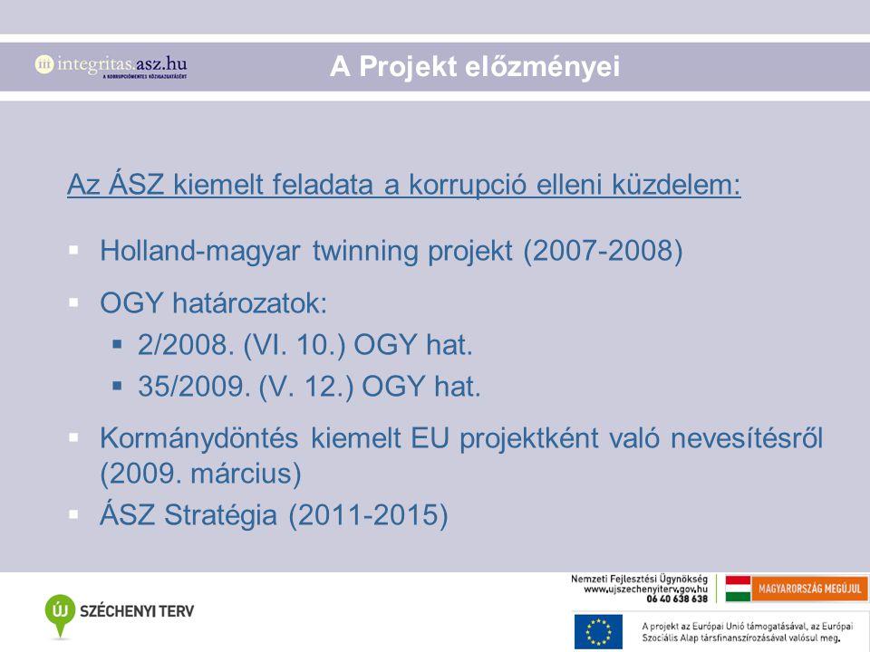 A Projekt előzményei Az ÁSZ kiemelt feladata a korrupció elleni küzdelem: Holland-magyar twinning projekt (2007-2008)