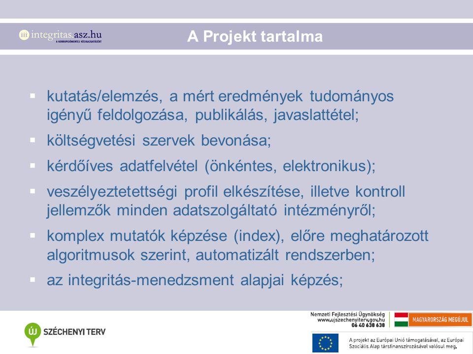 A Projekt tartalma kutatás/elemzés, a mért eredmények tudományos igényű feldolgozása, publikálás, javaslattétel;