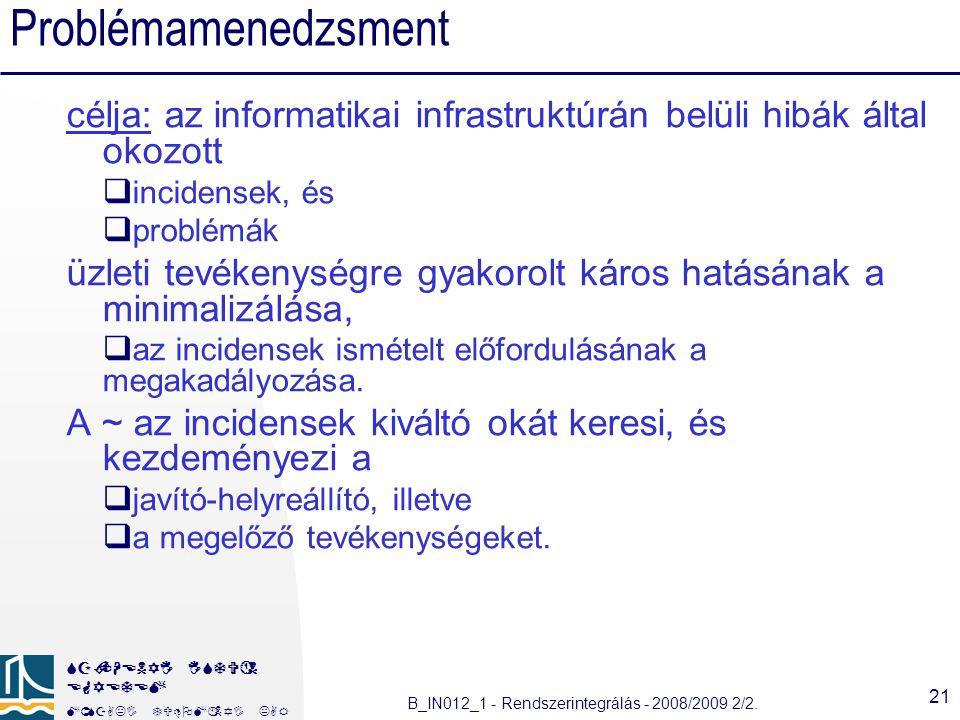 Problémamenedzsment célja: az informatikai infrastruktúrán belüli hibák által okozott. incidensek, és.
