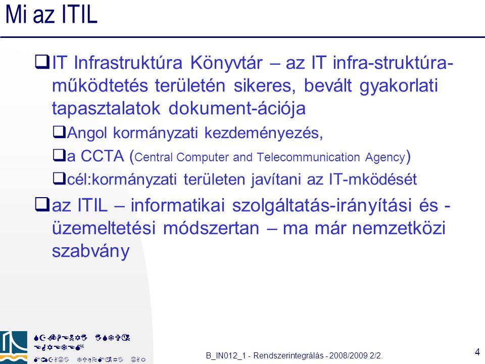 Mi az ITIL IT Infrastruktúra Könyvtár – az IT infra-struktúra-működtetés területén sikeres, bevált gyakorlati tapasztalatok dokument-ációja.