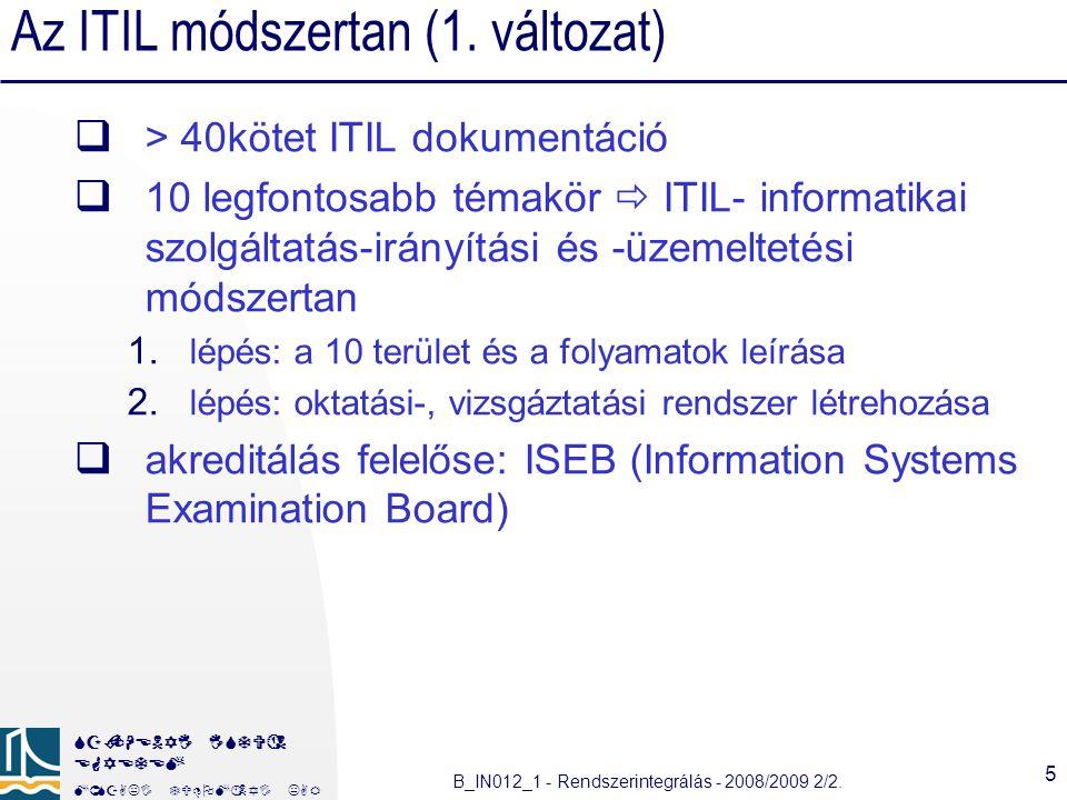 Az ITIL módszertan (1. változat)