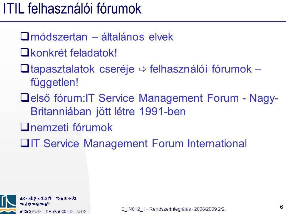 ITIL felhasználói fórumok