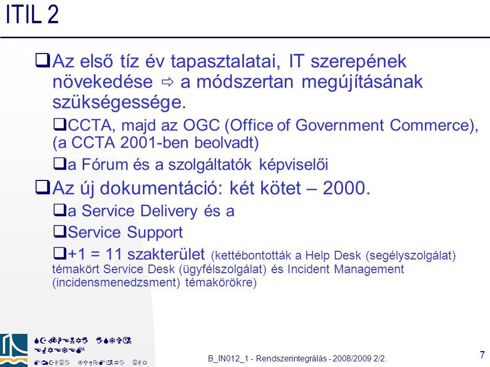 ITIL 2 Az első tíz év tapasztalatai, IT szerepének növekedése  a módszertan megújításának szükségessége.