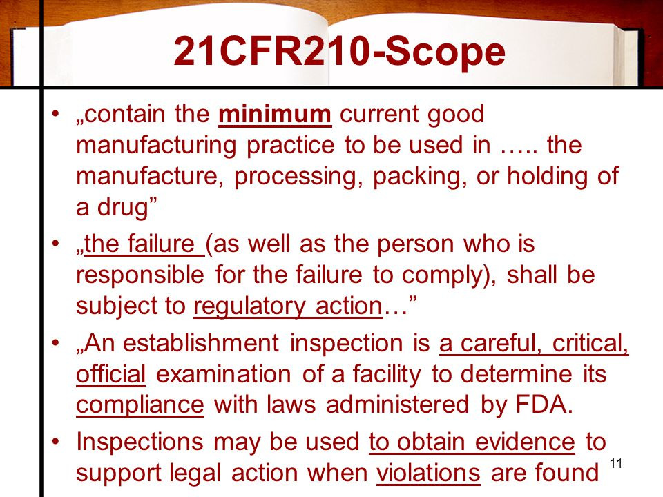 "21CFR210-Scope ""contain the minimum current good manufacturing practice to be used in ….. the manufacture, processing, packing, or holding of a drug"