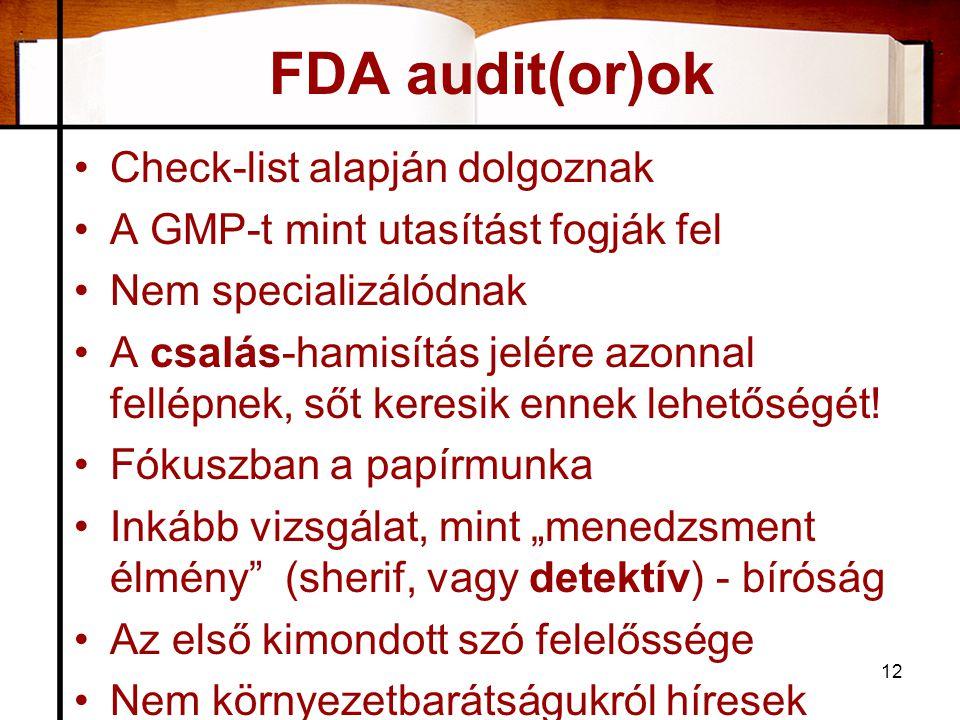 FDA audit(or)ok Check-list alapján dolgoznak