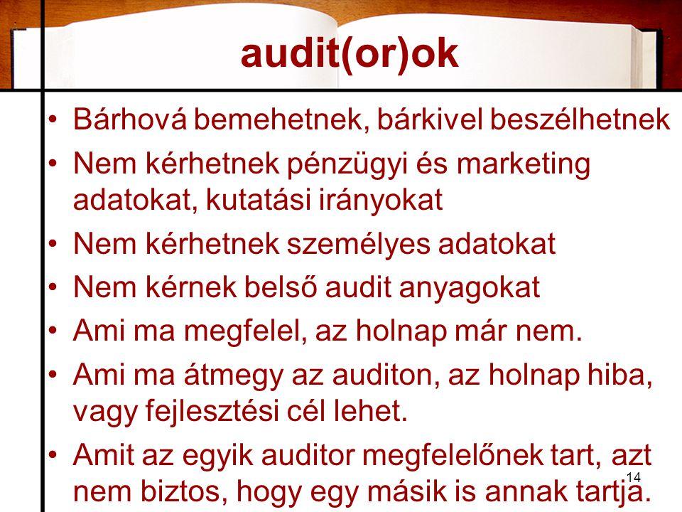 audit(or)ok Bárhová bemehetnek, bárkivel beszélhetnek