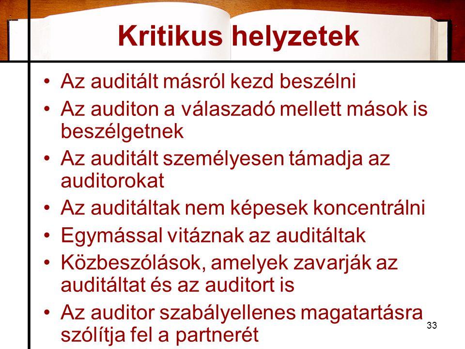 Kritikus helyzetek Az auditált másról kezd beszélni